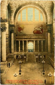 Vintage Railroad Postcards: The Pennsylvania Railroad's Landmark Station.  Pennsylvania Railroad Terminal Station, 1906-1910, New York City; McKim, Mead, and White.  Corinthian and ionic orders, barrel vaulted and coffered celings are some of the classical elements that conform the interior of this rail road station.  Industrial Revolution.