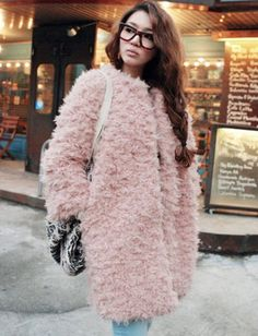 Korean Style Pure Color Fuzzy Longline Coat for Women