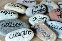 DIY garden stones for labels --- what a great idea.if I ever plant another edible garden I will have to do this! May need bigger stones though if you have a dog who likes to play with rocks. Diy Garden, Dream Garden, Herb Garden, Garden Projects, Garden Art, Garden Plants, Garden Design, Mosaic Garden, Garden Labels