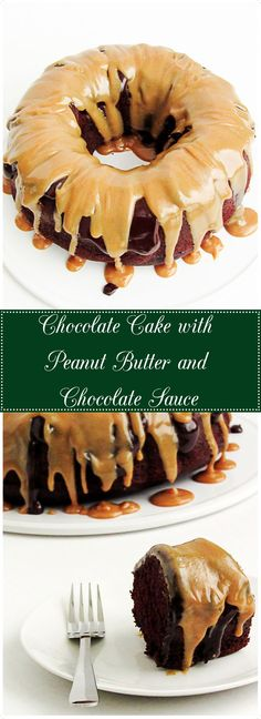 Chocolate Cake with Ganache and Peanut Butter Sauce - Perfectly moist chocolate buttermilk cake drizzled with the classic flavors of chocolate and peanut.