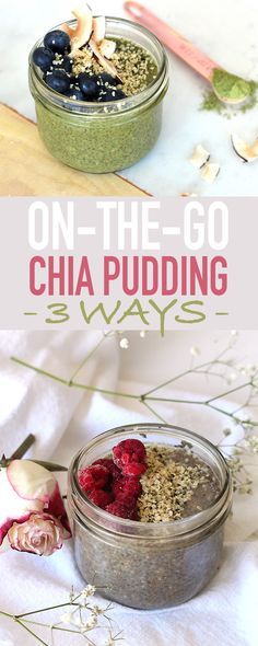 Chia pudding: 3 ways! Matcha blueberry, Earl Grey Raspberry, and my favorite - Vanilla Protein and Almond. Chia is high in protein and fibre making for a quick and healthy breakfast to take on the go