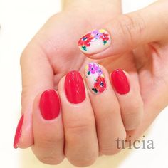 #Summer Vivid Pure Red with Floral Accents #nails #nailart