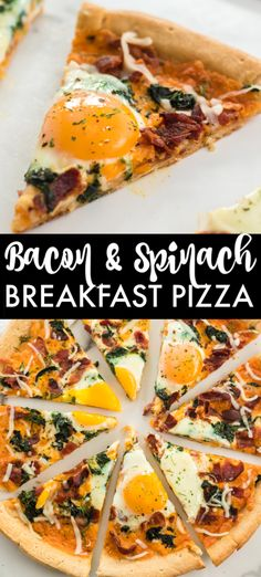 Bacon & spinach breakfast pizza is a filling and unique way to start your day. Pizza for breakfast is always a good idea! | www.persnicketyplates.com #pizza #breakfast #breakfastpizza #eggs #easyrecipe