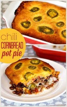 Chili Cornbread Pot Pie - Dig into this warm, hearty, and easy casserole for din. Chili Cornbread Pot Pie - Dig into this warm, hearty, and easy casserole for dinner tonight! I Love Food, Good Food, Yummy Food, Beef Dishes, Food Dishes, Potluck Dishes, Main Dishes, Chili And Cornbread, Cornbread Mix