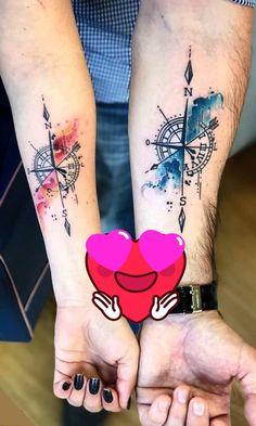 Small Compass Tattoo, Compass Tattoo Design, Forearm Tattoo Design, Compass Tattoos For Men, Compass Tattoo Forearm, Nautical Compass Tattoo, Simple Forearm Tattoos, Nautical Tattoos, Couples Hand Tattoos