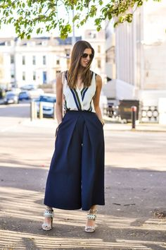 culottes with striped V-neck top