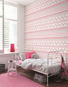 Bright Pink & White Kids Bedroom Wallpaper - R1027 #striped #floral