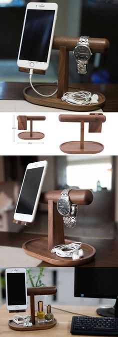 Wooden Watch Stand Charge Cord Cable Organizer Cell Phone iPhone Charging Statio - Iphone Holder - Ideas of Iphone Holder - Wooden Watch Stand Charge Cord Cable Organizer Cell Phone iPhone Charging Station Dock Duck Diy Phone Stand, Ipad Stand, Iphone Holder, Cell Phone Holder, Woodworking Crafts, Woodworking Plans, Woodworking Classes, Woodworking Jointer, Woodworking Basics