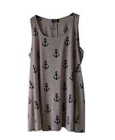 Pink Tank Dress with Anchor Print