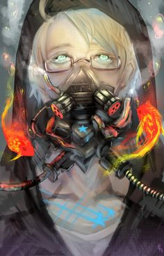 Alfred with a very sci-fi looking gas mask. Companion piece to this: http://www.pinterest.com/pin/398076054534446978/ - Art by bwusagi
