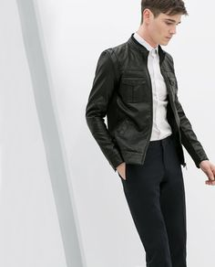 ZARA - SALE - FAUX LEATHER JACKET WITH KNITTED SIDE PANELS