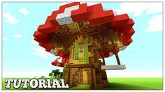 Minecraft: How To Build A Mushroom House Tutorial Easy Small Survival Minecraft house tutorials Minecraft blueprints Minecraft