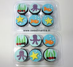 Homemade Eggless 3D customized, personalized, handcrafted, designer, fondant Sea/Underwater theme birthday cupcakes for girl at Aundh, Pune