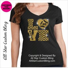 Custom Love Football Bling Shirt