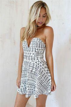 Monochrome Lines Dress   SABO SKIRT