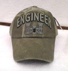 US ARMY ENGINEER Military Veteran STONE WASHED OD Hat 6603 MTEC #Eagle #BaseballCap