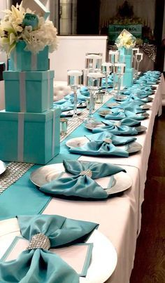 Love what they've done with the napkins at this Tiffany's Bridal Bash! Such a great idea. The table looks gorgeous! See more party ideas and share yours at Planning your breakfast at tiffanys wedding shower party, here 25 ideas to copy 16 Turn this Tiffan Tiffany Theme, Tiffany Wedding, Tiffany Blue Weddings, Tiffany Blue Party, Tiffany Birthday Party, Green Weddings, Romantic Weddings, Wedding Centerpieces, Wedding Table