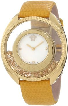 Versace Women's 86Q721MD497 S585 Destiny Spirit Floating Micro Spheres Yellow Leather Watch   Your #1 Source for Watches and Accessories