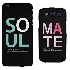Soul Mate Matching Couple Phone Cases for iphone 4, iphone 5, iphone 5C, iphone 6, iphone 6 plus, Galaxy S3, Galaxy S4, Galaxy S5, HTC M8, LG G3