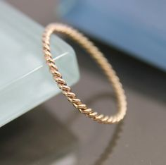 Very Skinny 14k SOLID Gold Twisted Rope Infinity Band Stacking Ring Shiny Finish on Etsy, $75.00