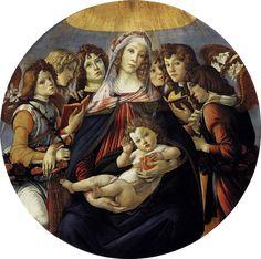 Alessandro di Mariano di Vanni Filipepi detto Sandro Botticelli, (Firenze, 1º marzo 1445 - Firenze, 17 maggio 1510) Madonna con il Bambino e sei angeli (Madonna della Melagrana),1487 tempera su tavola, diametro 143,55 cm Firenze, Galleria degli Uffizi