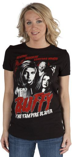 efd38ad9eb87 This Buffy the Vampire Slayer t-shirt features Buffy, Angel, Spike, and  Willow along with the words Demons!