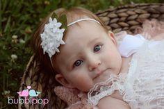White Wool Felt Hydrangea Headband Hand Beaded Newborn by bubbipop, $11.99
