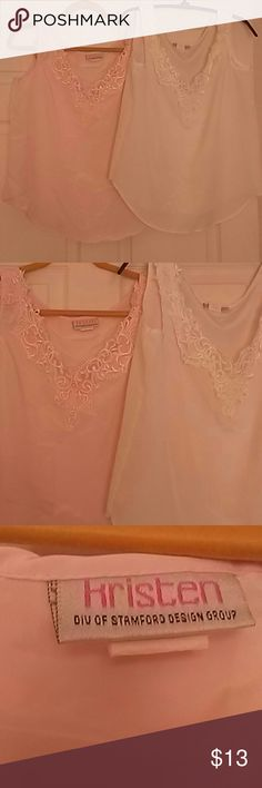 Silk Summer shirts in spring colors Both In good condition! Worn a only a few times! Very breezy! They fit like a large but the real size is medium! Offers very welcome!! Can ne sold separately, color pink, and white. hrisren Tops Blouses