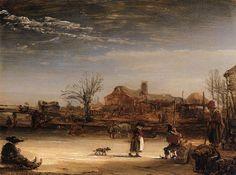 Rembrandt Paintings | Winter Landscape by REMBRANDT Harmenszoon van Rijn