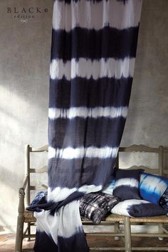 Black Edition by Romo Group was launched at Maison & Objet. The Black edition is photographed in an early Century chateau is bathed in gentle Tie Dye Curtains, Tie Dye Bedding, Net Curtains, Window Curtains, How To Tie Dye, How To Dye Fabric, Motifs Aztèques, Shibori Tie Dye, Black Edition