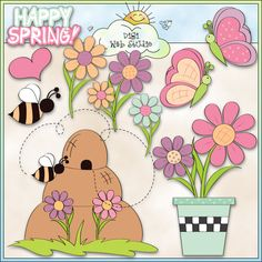 Happy Spring 1 - NE Trina Clark Clip Art : Digi Web Studio, Clip Art, Printable Crafts & Digital Scrapbooking!