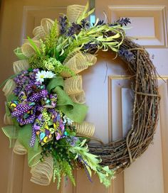 Purple Grapevine Wreath by marinascustomdesigns on Etsy, $59.00