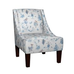 """An elegant occasional chair with subtle sloped arms. The Venda is a unique customizable occasional chair that serves as a refined accent piece in a formal living room or the kids play area.  Here it is shown with a fabric design by Nancy Lee Moran, """"Blue on White Toile de Jouy.""""  Handmade in the USA, it features a premium quality wood frame, polyurethane foam seat and backrest, and espresso wooden legs. Click the image to buy it. #chair #Roostery.com #NancyLeeMoran #fairytales #toile"""