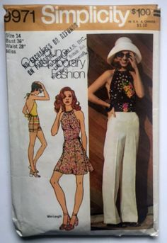 Simplicity 9971 Sewing Pattern Mini Skirt Halter Top Pants Shorts 14 New Uncut Mod Vintage