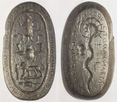 Talismans - Magical gem: Anguipes, mummy, animals (A) Chnoubis, uterus, (B)
