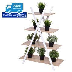 X-Shape 4-Tier Display Shelf Rack Potting Ladder