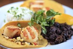 At Back Deck, grilled sea scallop tacos with grilled corn salsa, black beans, and rice. Grilled Sea Scallops, Beer Can Chicken, Corn Salsa, Mashed Sweet Potatoes, Food Lists, Burritos, Pork Chops, Enchiladas, Black Beans