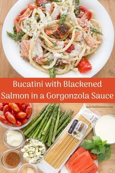 When you're thinking pasta for dinner, think about my easy to make and oh so delicious Bucatini with blackened salmon, asparagus, tomatoes and a light gorgonzola cream sauce! Asparagus Pasta, Salmon And Asparagus, Canned Pears, Blackened Salmon, Mexican Chicken Recipes, Healthy Tacos, Veggie Tray, Salad Dressing Recipes, Evening Meals