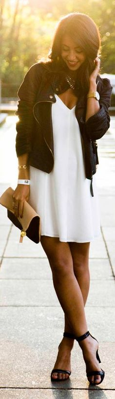 The Fifth White Loose Fit Thin Strap Cami Dress