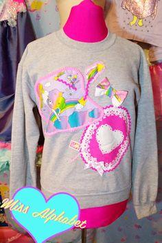 80s sweater, unicorn grey sweatshirt gray jumper fairy pop kei size medium extra large XL