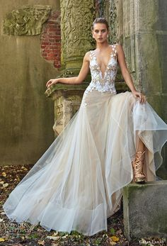 galia lahav fall 2017 bridal sleeveless deep plunging v neck heavily embroidered bodice drop waist tulle skirt sexy a line wedding dress open back chapel train (lauren) mv