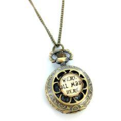 Wir sind alle verrückt hier Pocket Watch Halskette mit handgefertigten Glasfront D - http://schmuckhaus.online/fallen-saint/wir-sind-alle-verrueckt-hier-pocket-watch-mit-d
