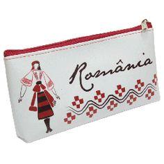 """Daca va doriti un penar deosebit, cu un design unic, atunci acest penar este cea mai buna alegere.Elemente populare cu rosu si negru, alaturi de imaginea unei femei imbracate in port traditional in aceleasi culori, fundalul alb si sintagma """"Romania"""", creeaza un design simplu, dar traditional.Penarul este captusit pe interior, avand astfel o rezistenta sporita si se inchide cu ajutorul unui fermoar. (pencil case from Romania) Custom Art, Arts And Crafts, Words, Unique, Pictures, Bags, Design, Souvenir, Photos"""