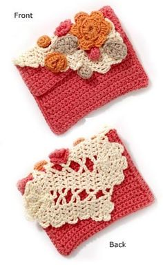 Springtime Clutch..love the flowers...might sew the purse portion, rather than crochet for more stiffness.