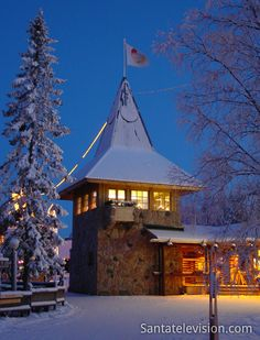 Santa Claus Main Post Office in Rovaniemi in Finnish Lapland during blue moment