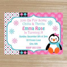 Penguin Invitation - Girl Penguin Printable Invitation - Birthday Penguin Invitation - Digital File