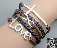 Cross  infinity  love charm bracelet brown wax rope by Carlydiy, $4.99