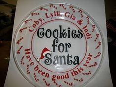 Cookies for Santa plate~ Get all of your vinyl needs at http://cricketvinylsupplies.com