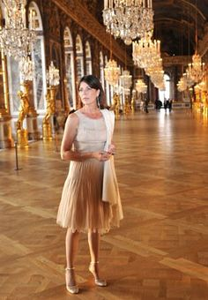 Princess Caroline of Monaco in the Hall of Mirrors at the Chateau de Versailles.    Photo By Dominique Maitre