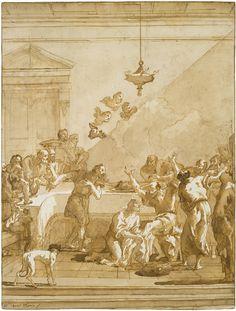 Giovanni Domenico Tiepolo (1727-1804), The Christ washing the apostles' feet | Le Christ lavant les pieds des apôtres, Plume et encre brune sur craie noire, lavis brun